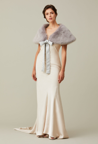 Helen Moore- Shoulder wrap with ribbon in Gray - Helen Moore