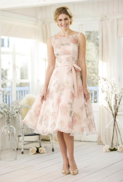 50's Fantastic Floral in Ballet pink - True Bridesmaid
