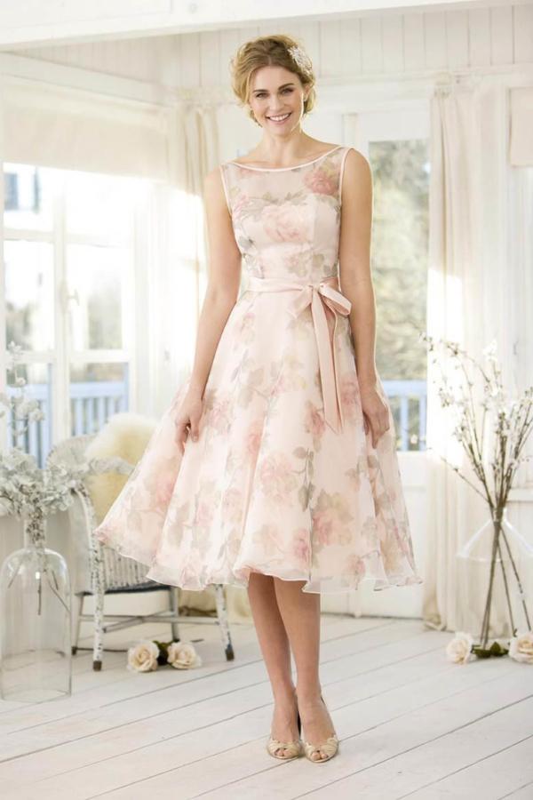 50's Fantastic Floral in Ballet pink - True Bridesmaid