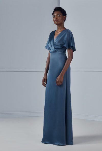diem amsale blue bridesmaids dress