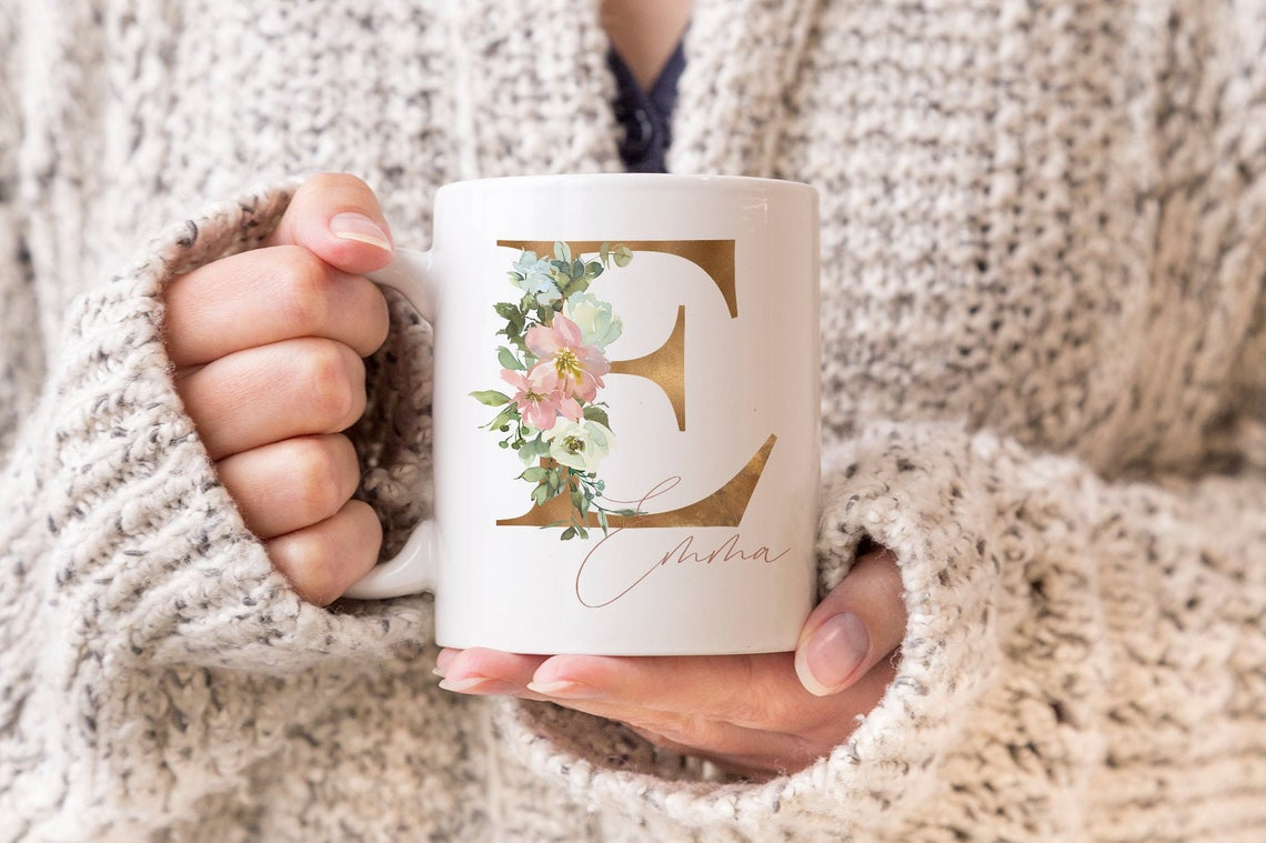 Personalised Floral Mug for bridesmaids