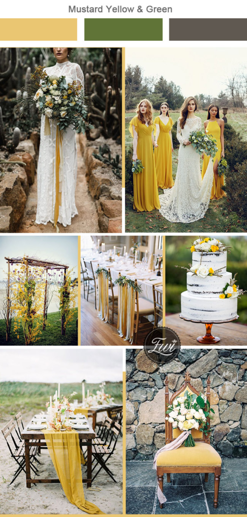 mustard yellow and green wedding theme