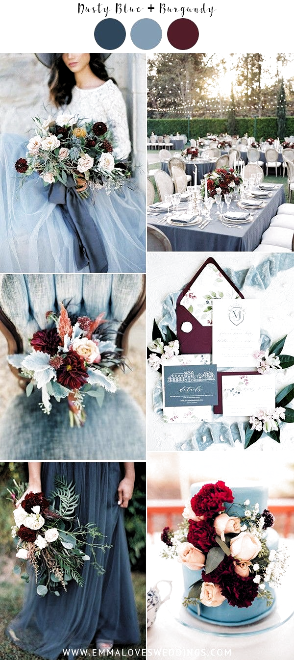 dusty blue and burgundy wedding theme