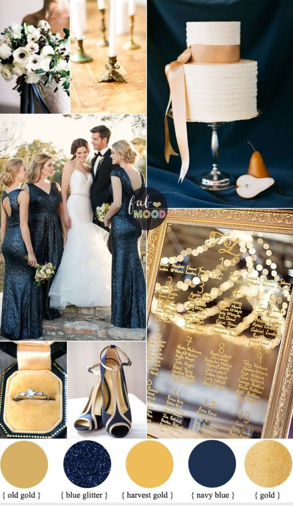 Wedding Colour Trends of 2021 classic blue and gold palette