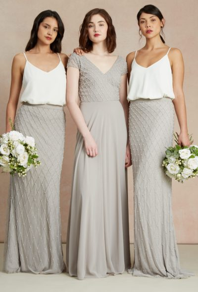bridesmaid proposal grey and white dresses