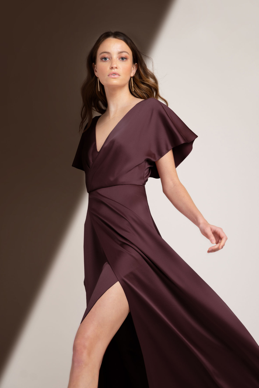 purple bridesmaids dresses with sleeves from jenny yoo